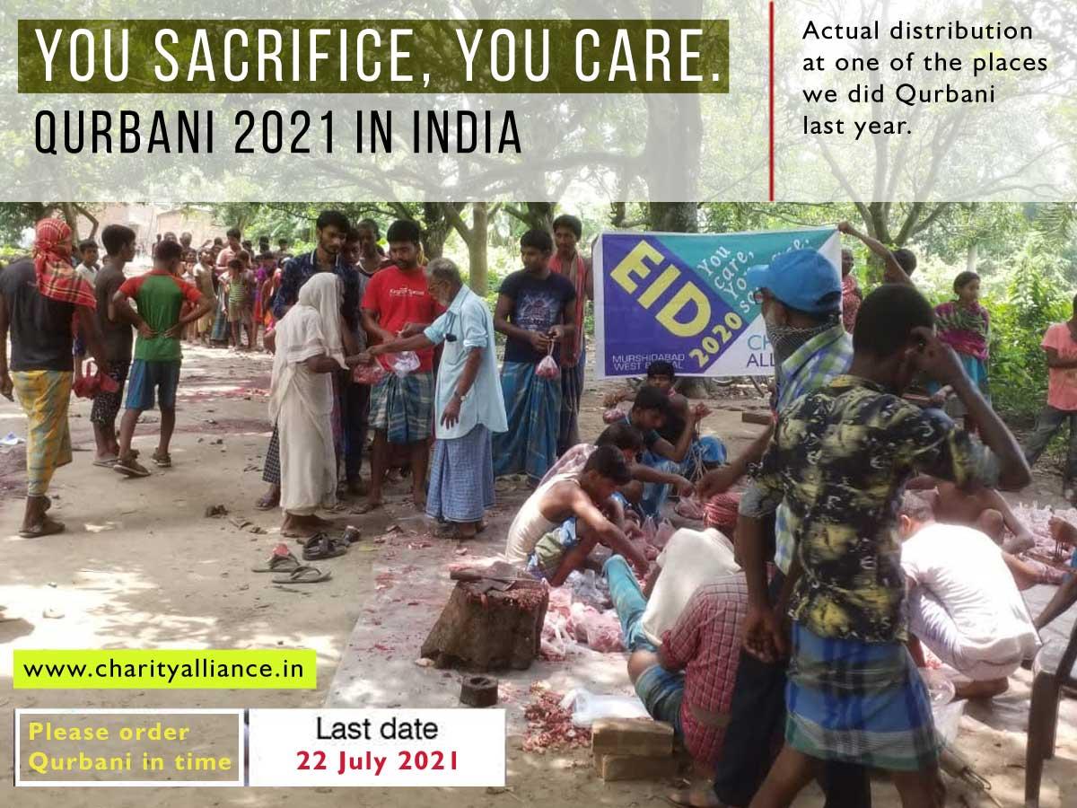 online qurbani india sacrifice muslims islam eid meat goat welfare food poor payment